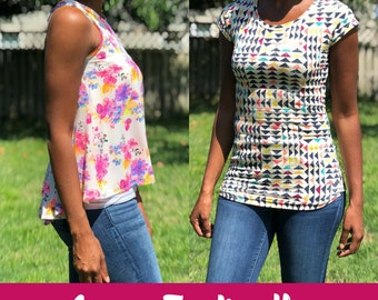 PDF Pattern Bundle - The Perfect Tee and The Everyday Tank - Sizes XS-XL