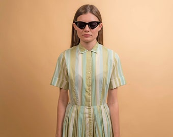 50s Cotton Dress / Pastel Striped Dress / Full Skirt Dress / Vintage 50s Shirt Dress Δ size: S