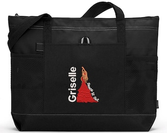 Dancer / Salsa Personalized  Zippered Tote Bag with Mesh Pockets, Beach Bag, Boating