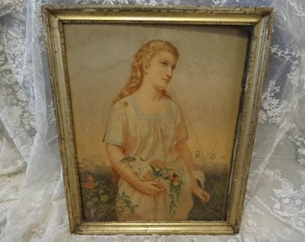 GORGEOUS Vintage Shabby Victorian Lady Flowers Portrait Print Framed AS-IS