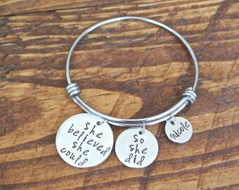 She Believed She Could So She Did Personalized Name Metal Stamp Charm Stainless Steel Bracelet Expandable Bangle