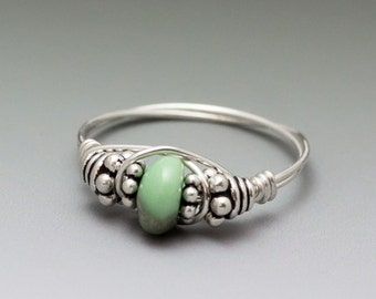 Lucin Variscite Bali Sterling Silver Wire Wrapped Ring - Made to Order, Ships Fast!