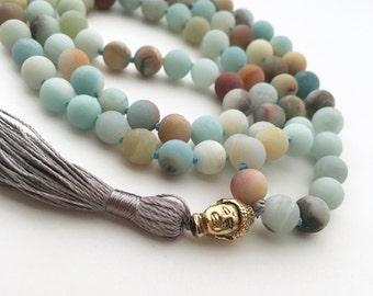 Amazonite Mala, 108 Bead Malas, Hand Knotted Necklace, Buddhist Necklace, Prayer Necklace, Meditation Jewelry, Hand Knotted Mala Buddhist