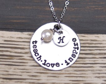 teach love inspire necklace, sterling silver filled, initial necklace, teacher necklace, Swarovski pearl, teacher gift, graduation, for her