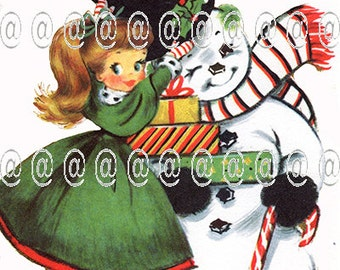 Digital download vintage Christmas card, cute girl putting hat on snowman