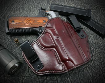 Canik TP9 SF. Tucker Holster. Tuckable Inside the Waist Band ( IWB ). Custom leather holster. Hand Made. Hand Crafted.