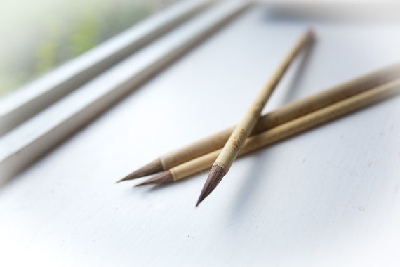 Chinese Calligraphy Brush Set Of 3 Made Of Bamboo And Horse Hair