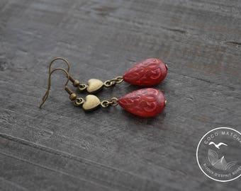 Boucles d'oreilles rouges - Bijou coeur - Bijou marocain - Bijou bohème - Coco Matcha