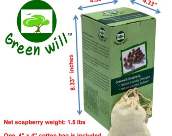 1.5 pounds Greenwill organic de-seeded soap nuts / soap berries and 1 complimentary wash bags