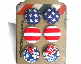 Stars&Stripes Studs,USA Earrings,USA Jewelry,Patriotic Studs, Red,White,Blue Button Earrings,Americana Earrings,USA Studs,July 4thEarrings,
