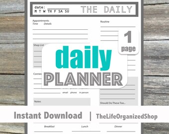 Daily Planner (Daily Docket) - From the Minimalist Collection - Your whole day on one page!