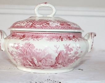 VILLEROY, Red Transferware, Vintage Tureen, Antique Tureen, Glazed Faience, White Ironstone bowl, Soup Tureen, French Antiques, Burgenland