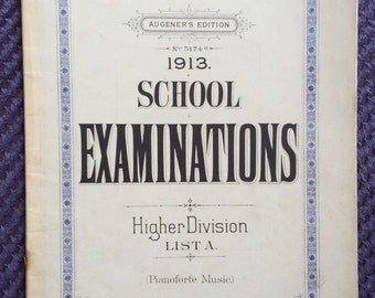 1913 School Pianoforte Examinations Higher Division, vintage sheet music