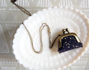 Tiny Constellation Coin purse necklace- miniature accessory- star gazer