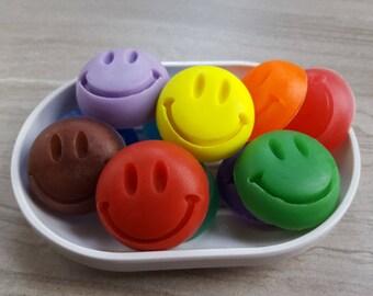 10 Party Favor Soap, Happy Face Soap, Emoticon Soap, Kid Soap, Small Soap Mini, Guest Soap, Novelty Soap, Decorative Soap, 10 Pack (10 oz)