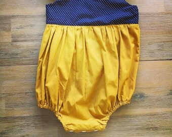 Navy and mustard romper for Sam