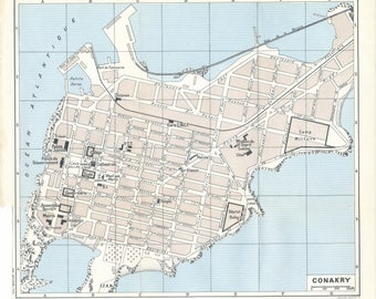 Vintage conakry map Etsy