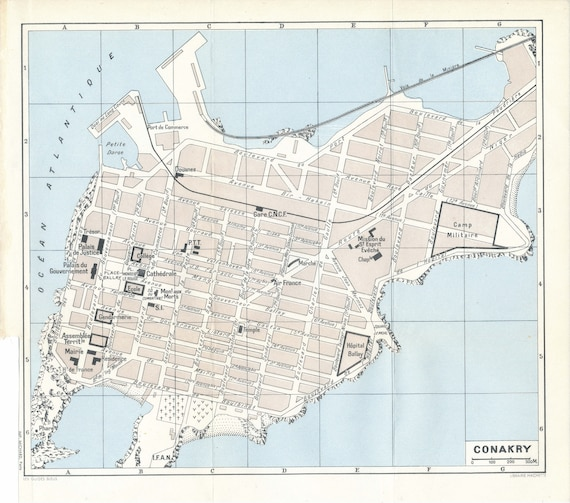 1958 Conakry Guinea Vintage map