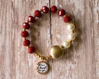 Divine Mercy Rosary Bracelet, Chaplet of Divine Mercy Stretch Rosary, Jesus I Trust in You Bracelet, Catholic Charm Bracelet