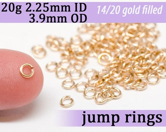 20g 2.25mm ID 3.9mm OD gold filled jump rings -- 20g2.25 goldfill open jumprings 14k goldfilled