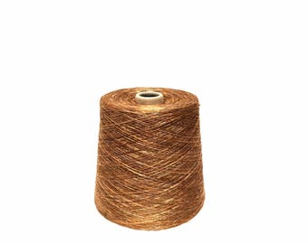 Camel Space Dye Rayon Slub Yarn, Sport weight.  2.3 LBS. Cone KNITTING - WEAVING - Crochet