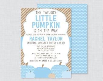 Little Pumpkin Baby Shower Invitation Printable or Printed - Blue Pumpkin Baby Shower Invite Fall Baby Shower Invite Baby Boy Invite, 0035-B