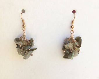 Rose Gold and Labradorite Cluster Earrings