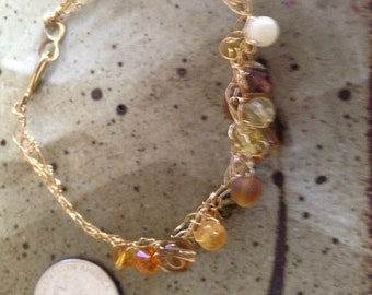 Brass woven beaded bracelet, one of a kind