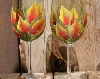 Hand Painted Wine Glasses (Set of 2) - Large Fall Leaves on Olive Green glass