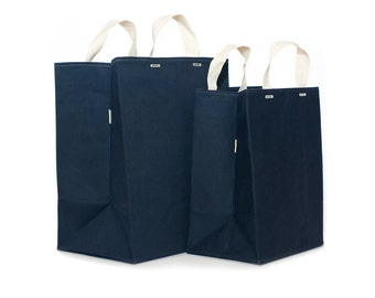 SET of Two Market Bags // Waxed Canvas Bags // Reusable Grocery Bags // Brown Bag
