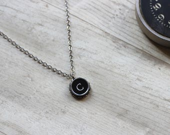 Initial C Necklace, Vintage Typewriter Key, Writer Gift