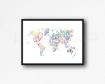 Rainbow Cat Map Print World Map Print Cat Lover Gift Cat World Map Watercolor Painting Print Art Print Wall Art Wall Decor Unframed