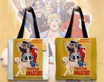 Lagotto Romagnolo Art Tote Bag - Amarcord Movie Poster   Perfect DOG LOVER Gift for Her Gift for Him