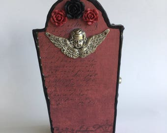 Red and Black Cherub Casket Trinket Box