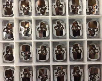 Pair Swarovski Crystal Skull Flat Back Flatback Hot Fix Hotfix Metallic Chrome Silver Iron Man Cobalt Sapphire Science Fictiion Sci Fi Two