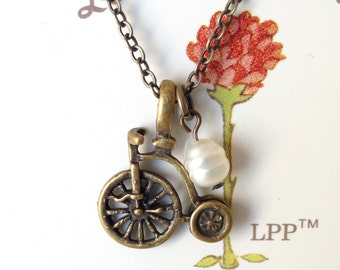 Romantic Bicycle Antique Brass Necklace, Fresh Water Pearl Necklace, Bicycle Necklace, Cute Necklace, BFF Gift, Christmas Gift