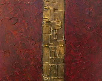 Large Abstract Acrylic Painting Textured Painting Red Painting Gold Painting Modern Art Contemporary Art