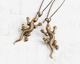 Brass Lizard Earrings, Antiqued Brass Dangle Earrings, Quirky Jewelry, Animal Lover Gift