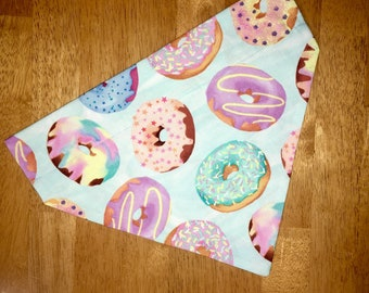 Donut Dog Bandana, Over the Collar Bandana, Pet Bandana, Puppy Bandana,