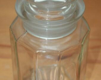 Vintage / Antique Glass Sweet or Storage Jar - (11 sides)