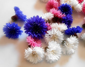 Organic EDIBLE BACHELOR BUTTONS, Candied or Not Candied Purple Blue, Pink, White, Edible Flowers, Bulk, Wedding Cakes,