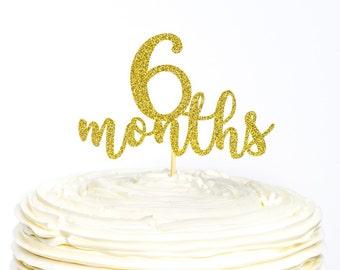 Half Birthday Glitter Cake Topper, Cake Topper, Glitter Cake Topper, 6 Month Cake Topper, Birthday Cake Topper, 1/2 Birthday, Half Birthday