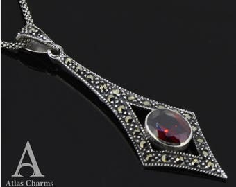 """Marcasite Red Garnet 925 Sterling Silver Necklace Popcorn Chain18"""" Oxidized"""