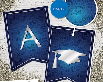 Large Blue & Silver 2018 Printable Banner  |  All Letters 0-9 numbers  |  Graduation, Birthday, Congratulations, Anniversary