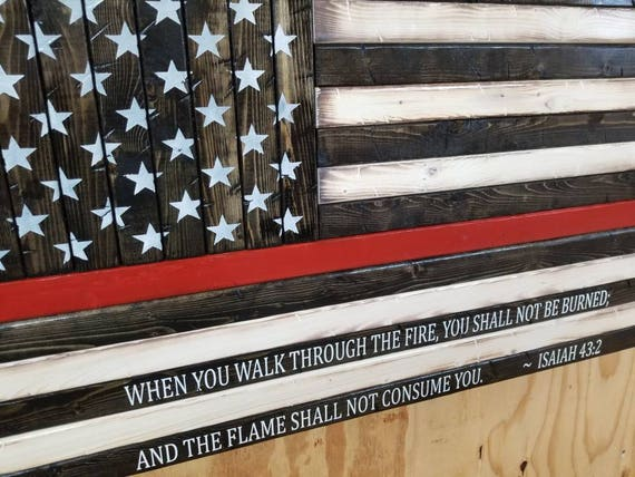Wooden Rustic Style Thin Red Line American Flag with Isaiah 43:2