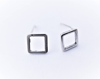 2pc, 925 sterling silver square post earrings, Sterling silver square post earrings, silver post earrings, square posts, silver square posts