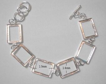 """Silver Plated Brass Bracelet Bezel Cabochon Setting - Rectangle  8""""  Sale 50 % off"""