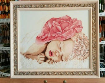 "embroidery, cross-stitch, painting, children, girls, birth, pink dream, Embroidered painting ""Pink dreams"""