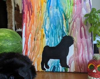 Rainbow Pug Art
