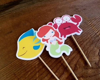 Ariel & Friends Party - Set of 12 Ariel and Friends Double Sided Assorted Cupcake Toppers by The Birthday House